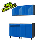 Contur Cabinet 5' Premium Santorini Blue Garage Cabinet System with Stainless Steel Tops