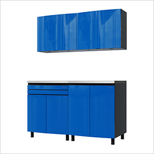 5' Premium Santorini Blue Garage Cabinet System with Stainless Steel Tops