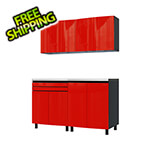 Contur Cabinet 5' Premium Cayenne Red Garage Cabinet System with Stainless Steel Tops
