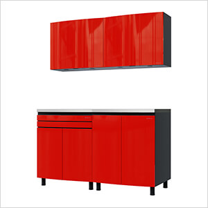 5' Premium Cayenne Red Garage Cabinet System with Stainless Steel Tops