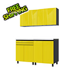 Contur Cabinet 5' Premium Vespa Yellow Garage Cabinet System with Stainless Steel Tops