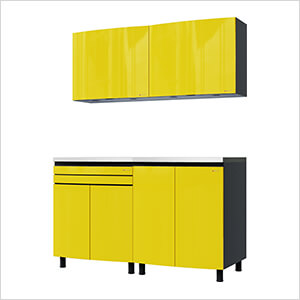 5' Premium Vespa Yellow Garage Cabinet System with Stainless Steel Tops