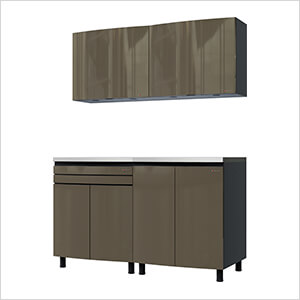 5' Premium Terra Grey Garage Cabinet System with Stainless Steel Tops
