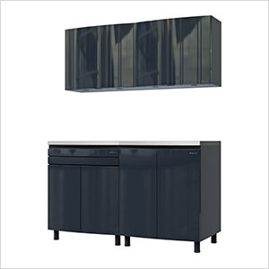 5' Premium Karbon Black Garage Cabinet System with Stainless Steel Tops