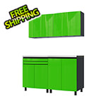 Contur Cabinet 5' Premium Lime Green Garage Cabinet System with Stainless Steel Tops
