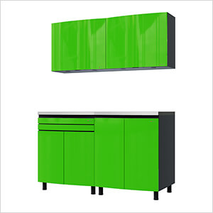 5' Premium Lime Green Garage Cabinet System with Stainless Steel Tops