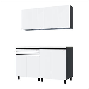 5' Premium Alpine White Garage Cabinet System with Stainless Steel Tops