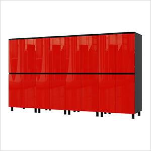 10' Premium Cayenne Red Garage Cabinet System