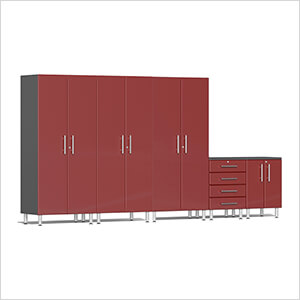 5-Piece Garage Cabinet System in Ruby Red Metallic