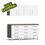 Ulti-MATE Garage Cabinets 6-Piece Cabinet System with Bamboo Worktop in Starfire White Metallic