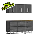 Ulti-MATE Garage Cabinets 7-Piece Cabinet System with Bamboo Worktop in Graphite Grey Metallic