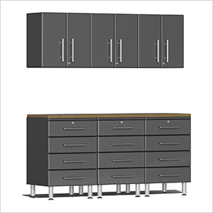 7-Piece Cabinet System with Bamboo Worktop in Graphite Grey Metallic