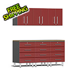 Ulti-MATE Garage Cabinets 7-Piece Cabinet System with Bamboo Worktop in Ruby Red Metallic