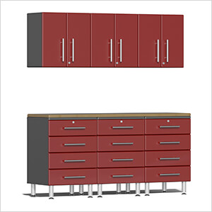 7-Piece Cabinet System with Bamboo Worktop in Ruby Red Metallic