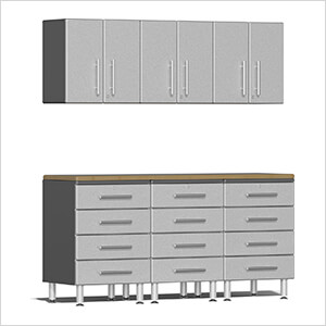 7-Piece Cabinet System with Bamboo Worktop in Stardust Silver Metallic