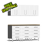 Ulti-MATE Garage Cabinets 7-Piece Cabinet System with Bamboo Worktop in Starfire White Metallic