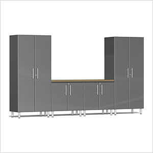 5-Piece Cabinet System with Bamboo Worktop in Graphite Grey Metallic