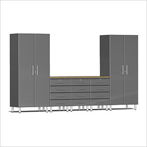 6-Piece Cabinet Kit with Bamboo Worktop in Graphite Grey Metallic