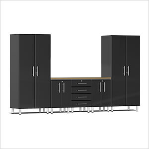6-Piece Cabinet System with Bamboo Worktop in Midnight Black Metallic