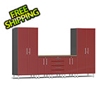 Ulti-MATE Garage Cabinets 6-Piece Cabinet System with Bamboo Worktop in Ruby Red Metallic