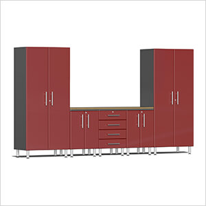 6-Piece Cabinet System with Bamboo Worktop in Ruby Red Metallic