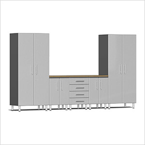 6-Piece Cabinet System with Bamboo Worktop in Stardust Silver Metallic