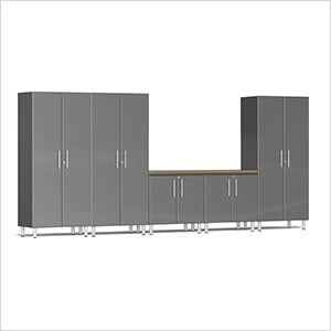 6-Piece Cabinet System with Bamboo Worktop in Graphite Grey Metallic