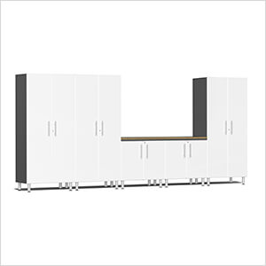 6-Piece Cabinet System with Bamboo Worktop in Starfire White Metallic