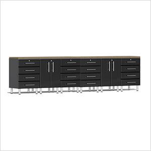 8-Piece Workstation System with Bamboo Worktops in Midnight Black Metallic