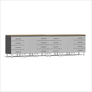 8-Piece Workstation System with Bamboo Worktops in Stardust Silver Metallic