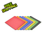 Norsk-Stor Truly Reversible Black and Rainbow Interlocking Foam Flooring (6-Pack)