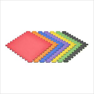 Truly Reversible Black and Rainbow Interlocking Foam Flooring (6-Pack)