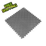 Norsk-Stor Metallic Graphite 18.3 in. x 18.3 in. x 0.25 in. PVC Floor Tiles - Raised Diamond Pattern