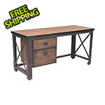 "DuraMax 62"" Industrial Metal and Wood Desk with Drawers"