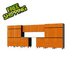 Contur Cabinet 17.5' Premium Traffic Orange Garage Cabinet System with Butcher Block Tops