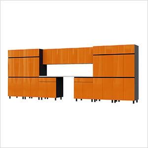 17.5' Premium Traffic Orange Garage Cabinet System with Stainless Steel Tops