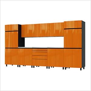 12.5' Premium Traffic Orange Garage Cabinet System with Stainless Steel Tops