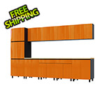 Contur Cabinet 12.5' Premium Traffic Orange Garage Cabinet System with Butcher Block Tops