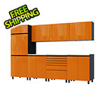 Contur Cabinet 10' Premium Traffic Orange Garage Cabinet System with Stainless Steel Tops