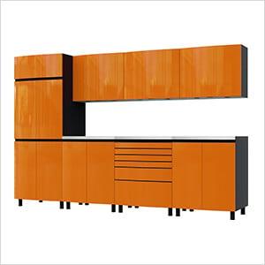 10' Premium Traffic Orange Garage Cabinet System with Stainless Steel Tops