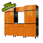 Contur Cabinet 7.5' Premium Traffic Orange Garage Cabinet System with Stainless Steel Tops
