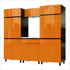 7.5' Premium Traffic Orange Garage Cabinet System with Stainless Steel Tops