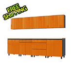 Contur Cabinet 10' Premium Traffic Orange Garage Cabinet System with Butcher Block Tops