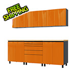 Contur Cabinet 7.5' Premium Traffic Orange Garage Cabinet System with Butcher Block Tops
