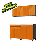 Contur Cabinet 5' Premium Traffic Orange Garage Cabinet System with Butcher Block Tops