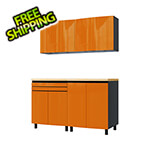 Contur Cabinet 5' Premium Traffic Orange Garage Cabinet System with Stainless Steel Tops