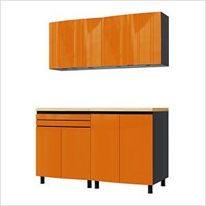 5' Premium Traffic Orange Garage Cabinet System with Stainless Steel Tops