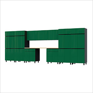 17.5' Premium Racing Green Garage Cabinet System with Butcher Block Tops