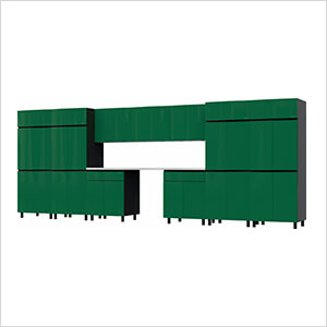 17.5' Premium Racing Green Garage Cabinet System with Stainless Steel Tops