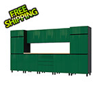 Contur Cabinet 12.5' Premium Racing Green Garage Cabinet System with Butcher Block Tops